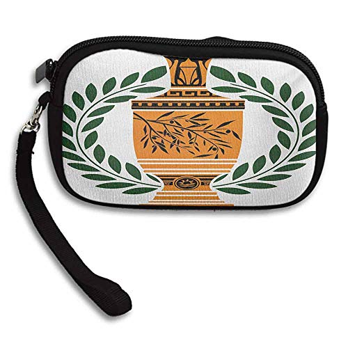Toga Party Card Wallet Old Antique Greek Vase with Olive Branch Motif and Laurel Wreath W 5.9