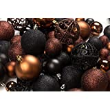 100 Brown And Black Christmas Ornament Balls Shatterproof+ 100 Metal Ornament Hooks, Hanging Ornaments For Indoor/Outdoor Christmas Tree, Holiday Party, Home Décor