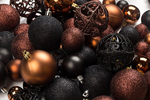 Black Christmas Ornaments.100 Brown And Black Christmas Ornament Balls Shatterproof 100 Metal Ornament Hooks Hanging Ornaments For Indoor Outdoor Christmas Tree Holiday