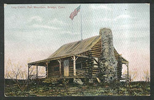Log Cabin Fall Mountain Bristol CT postcard - Cabin Mountain Fall