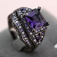 Ransopakul 2pcs Hot Princess Jewelry Black Gold Filled Cube Amethyst Set Rings #7/8/9 Gift (8)