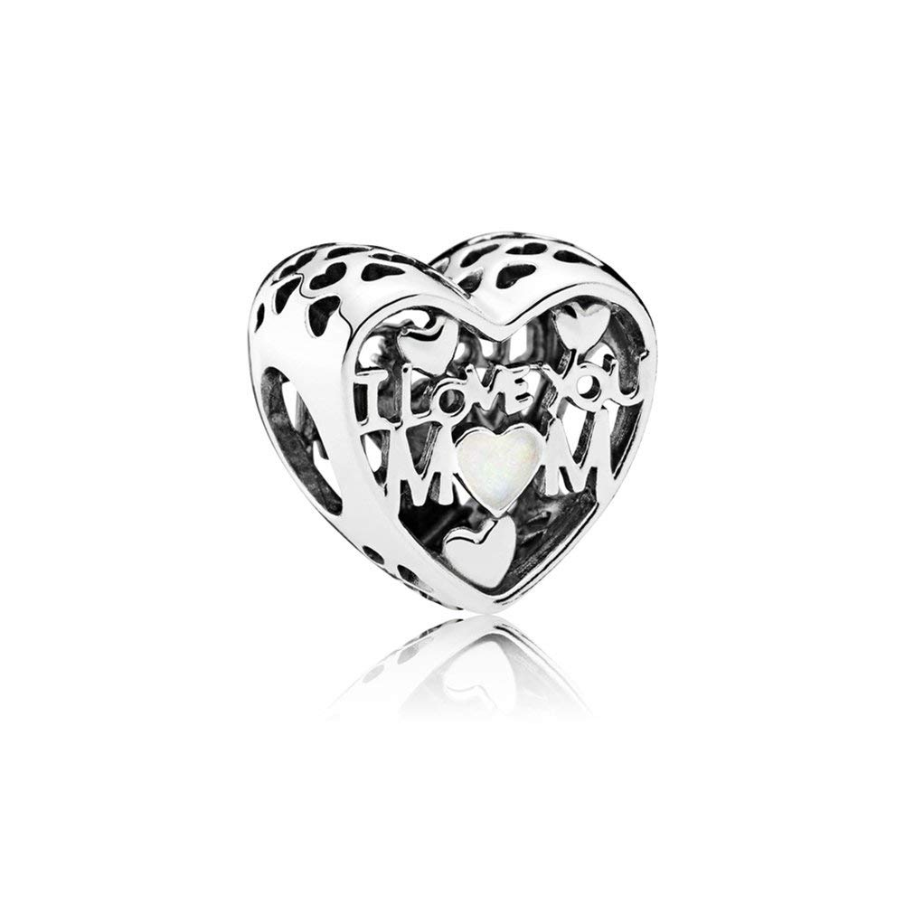 Love for Mother Charm, Sterling Silver Enamel Dangle Charms