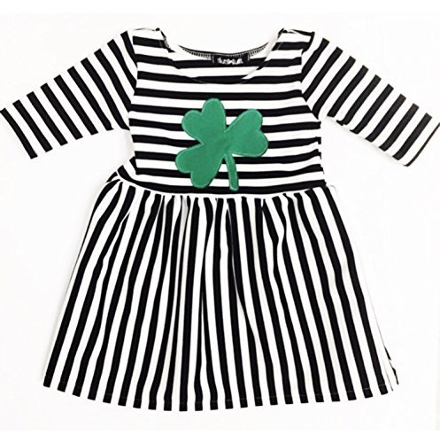 Skuttlebum Baby and Toddler Black & White Stripe, Green Shamrock Patch Dress, St. Patrick's Day Outfit - 3 months - 24 months