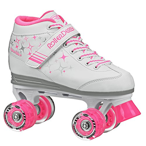 Roller Derby Girls Sparkle Lighted Wheel Roller Skate, White, Size 2 -