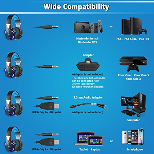 51TCwvf38LL - VersionTech G2000 Stereo Gaming Headset for PS4 Xbox One, Bass Over-Ear Headphones with Mic, LED Lights and Volume Control for Laptop, PC, Mac, iPad, Computer, Smartphones, Blue