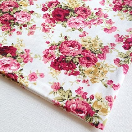 Floral Fabric Rose (English Rose in The Garden Vintage Cotton with Pink Red Rose Bouquet Wedding, Flower Bunch on White Fabric 36 by 36-Inch Wide (1 Yard) (FBA-CT315))