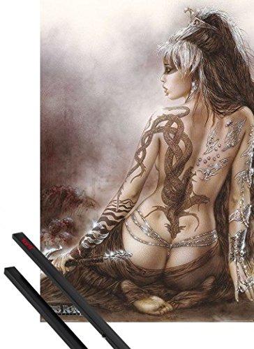 Póster de chica tatuada con dragón