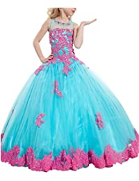 MCandy Flower Girls Lace Wedding Party Ball Gowns Long Pageant Dresses