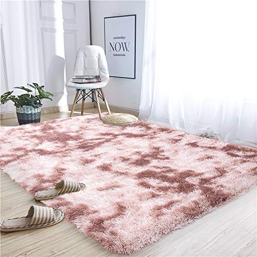 Noahas Abstract Shaggy Rug for Bedroom Ultra Soft Fluffy Carpets for Kids Nursery Teens Room Girls Boys Thick Accent Rugs Home Bedrooms Floor Decorative, 5 ft x 8 ft, Rosybrown