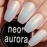 Neon Aurora/Mermaid Chrome/3D Pearl Mirror Effect Nail Polish Powder for Nail Art Design, Premium White Nail Pigment Powder