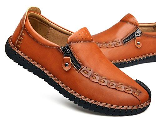 Tda Mode Blixtlås Sy Läder Driv Loafers Mockasiner Skor Brun