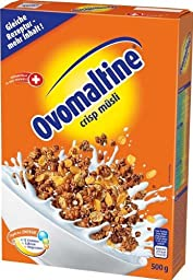 Ovomaltine, Crisp Muesli Cereals 4 Packages with Each 500 Grams, Switzerland