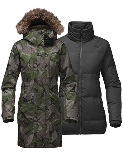 (The North Face Womens Outer boroughs Triclimate Jacket NF0A35D3XZK_XL - Burnt Olive Green Disrupt Camo)