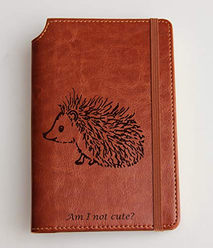 (Personalized cute hedgehog quote Journal with Custom text or custom quote engraved Journal leather bound, strip with the same color to keep it closed, deer, buffalo)