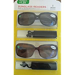 Image Readers Womens 2 Pack Trendy Frame Reading Sunglasses Glasses Block Out Ray UV and Gamma w/ +1.25 Magnification Viewing Pleasure Black Brown W/ Carry Pouch Driving Outdoor Safe Curved Lens