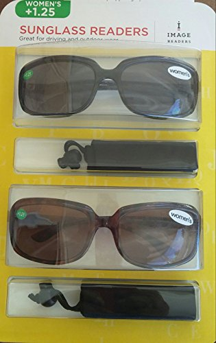 Image Readers Womens 2 Pack Trendy Frame Reading Sunglasses Glasses Block Out Ray UV and Gamma w/ +1.25 Magnification Viewing Pleasure Black Brown W/ Carry Pouch Driving Outdoor Safe Curved - Sunglasses Brand Image