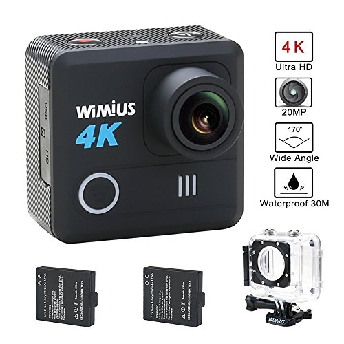 WIMIUS L1 4K Action Camera Wifi 1080p 60fps 20MP Waterproof Sports Camera FPV Camera 2.0'' 170°Wide Angle Include 2pcs Batteries and Full Accesspries Kits-Black Action Cameras WiMiUS®