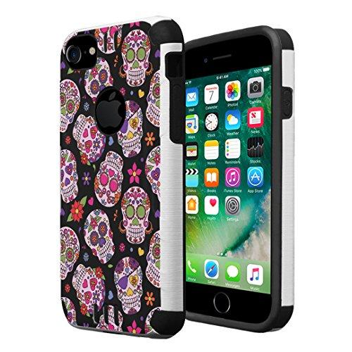 iPhone 7 Case, iPhone 6 / 6S Case, Capsule-Case Hybrid Dual Layer Silm Defender Armor Combat Case Brush Texture Finishing for Apple iPhone 7 / iPhone 6S / iPhone 6 - (Sugar Skulls Sweet)