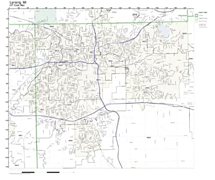 Amazon.com: ZIP Code Wall Map of Lansing, MI ZIP Code Map ...