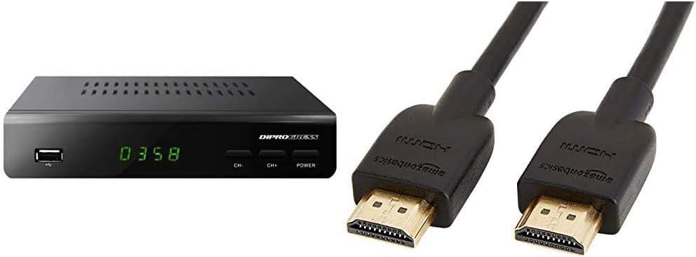 Pacco da 3 supporta Ethernet video 4K e ARC 0,9 m 3D Diprogress Decoder Dvb-T2 Hevc H265 10 Bit con Telecomando Universale 2 in 1 Dpt203Hd /& Basics Cavo HDMI 2.0 ad alta velocit/à