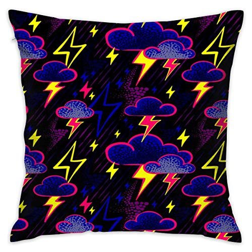 Lightning Bolt Storm Clouds Pattern Print Throw Pillow Cover Personality Cushion Cover Home Decorative Custom Pillow Covers Pillowslip Creative Cushion Pillow Cases with Zipper, 18