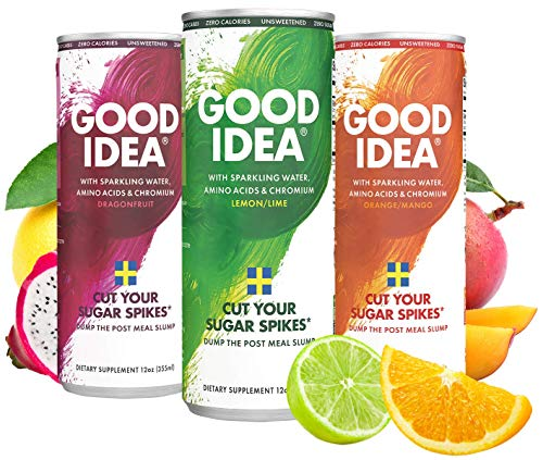Ideas Pack - Good Idea Functional Seltzer Beverage | Blood Sugar Support | Glucose, Insulin, Blood Sugar Control | 0 Sugar, 100% Natural, Vegan, Non-GMO, Gluten Free | Variety Pack, 12 oz, Pack of 12