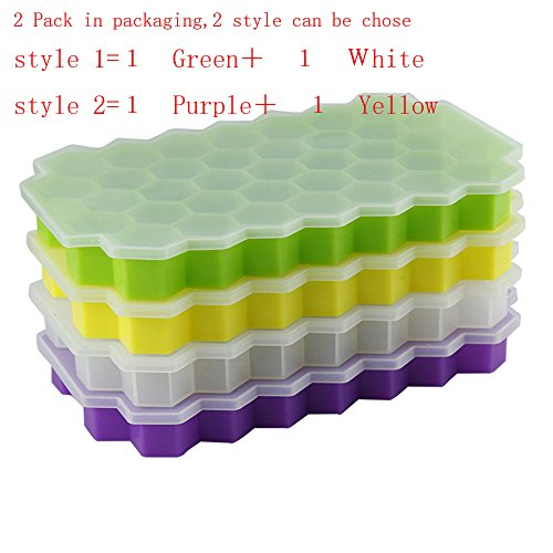 Creative Bath Glass Blocks - 2 Pack Silicone Ice Cube Trays with Lid with 37 Ice Cubes Molds?DIY Creative Silicone Honeycomb Ice Tray Fruit Ice Cube Maker Fodant Moulds Freeze Mould Bar Jelly Chocolate Mold