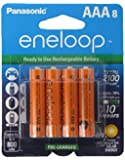"""8 Panasonic Eneloop AAA NiMH Pre-charged Rechargeable Batteries -With Battery Holder """"Limited Edition Orange Color Eneloops"""""""
