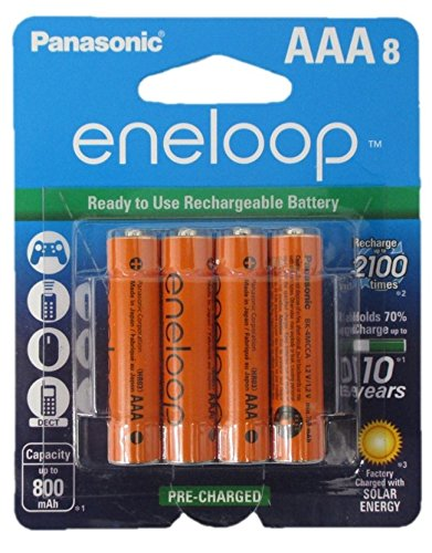 8 Panasonic Eneloop AAA NiMH Pre-charged Rechargeable Batteries -With Battery Holder