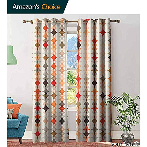 - Big datastore Geometric Light Blocking curtainsVintage Oval Pattern with Radiant Tone Effects Mosaic Illustration for Kitchen Bedroom Living Room W84 x L84 Cream Peach Orange Red