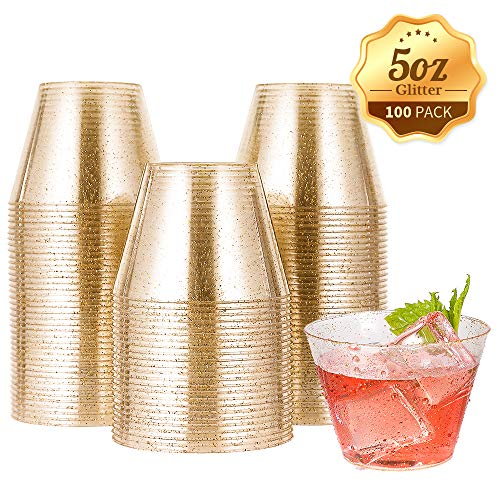 5 oz 100 Pack Small Glitter Disposable Cups, Glitter Plastic Cups, Disposable Plastic Shot Glasses for Parties, Plastic Cocktail Glasses, Wedding Holiday Tumblers