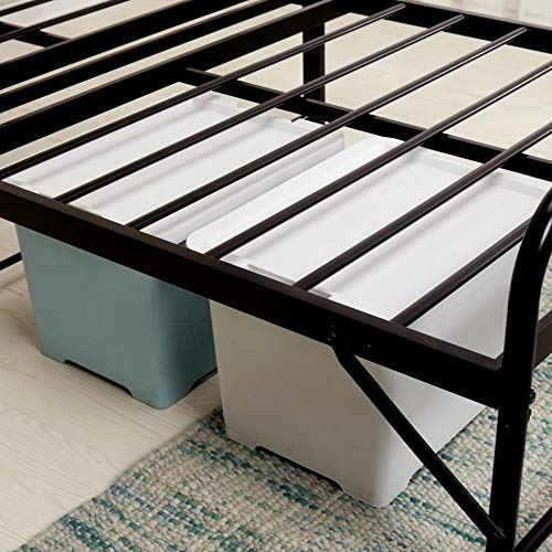 Best Price Mattress Twin Frame-12 Inch All-in- All-in-One Easy Setup Metal Platform Bed w/Steel slats and Headboard Mattress Foundation (No Box Spring Needed), Twin, Black