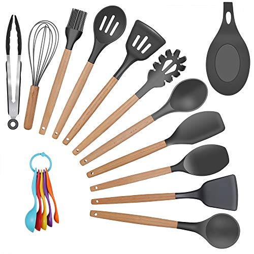 Grope 17 PCS Cooking Utensils Set with Wooden Holder Non Toxic Eco-friendly Spatula Set Silicone Kitchen Gadgets for Nonstick Cookware Utensils Set (Black)