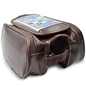 A.B Crew Retro Design PU Leather Durable Water Resistant Bike Bag Outdoor Cycling Gear with Sealed Zipper