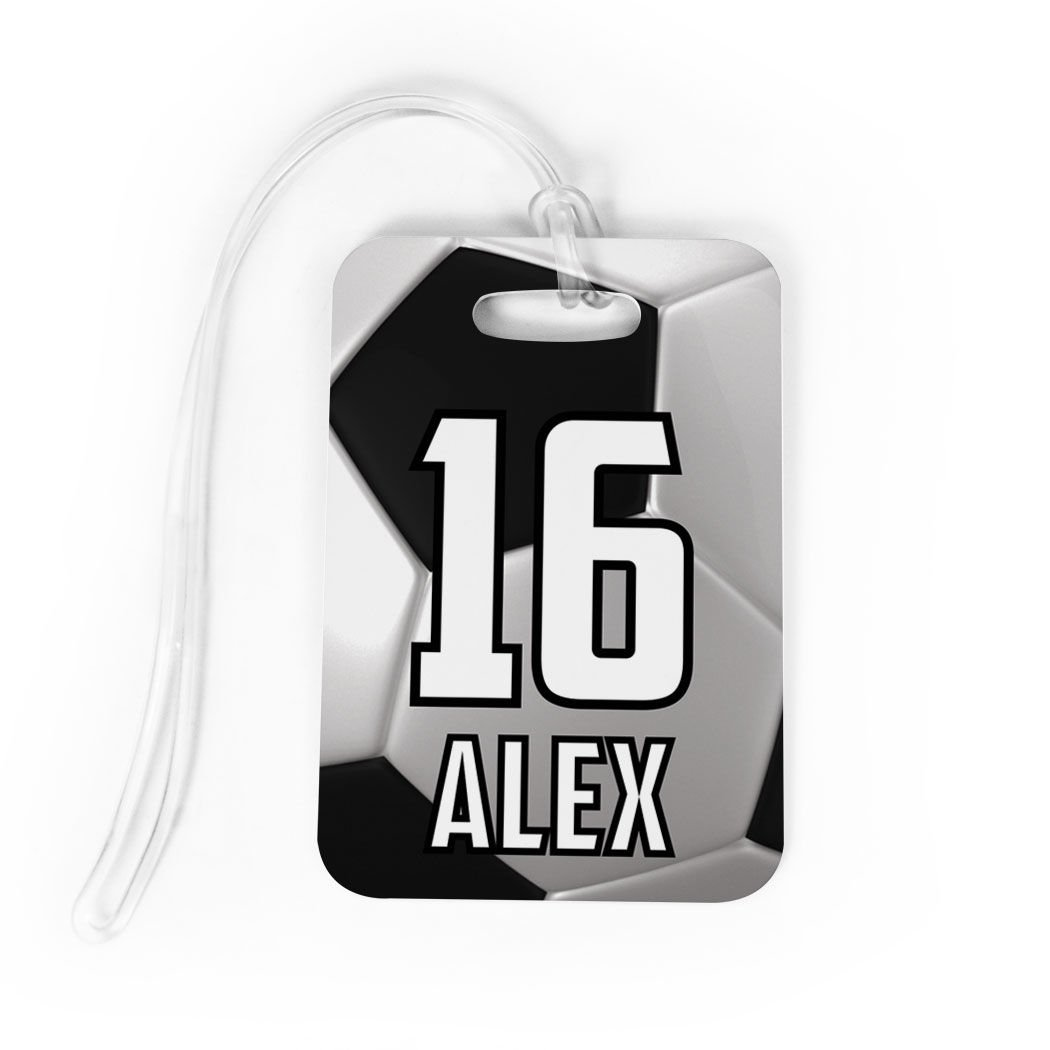 Soccer Luggage /& Bag Tag LARGE Personalized Soccer Ball Standard Lines on Back