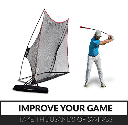 Rukket Haack Golf Net 3pc Bundle with Flexible Golf Swing Plane Tempo Trainer and Carry Bag, Practice Hitting/Driving Indoors, at Home or Backyard by Rukket Sports (Image #1)