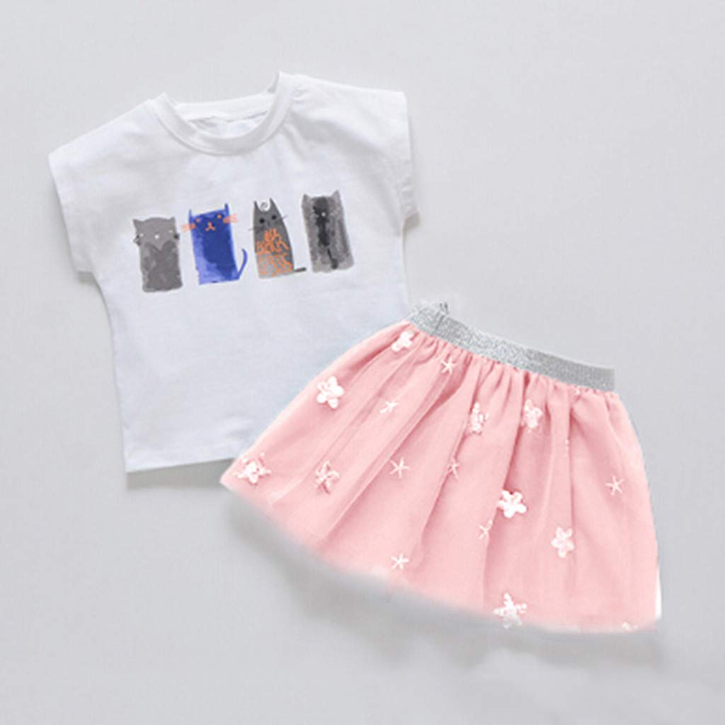 Toddler Baby Girls Cartoon Cat Print Short Sleeve t-Shirt Tops Floral Tutu Tulle Princess Skirt Summer Outfits Dancewear