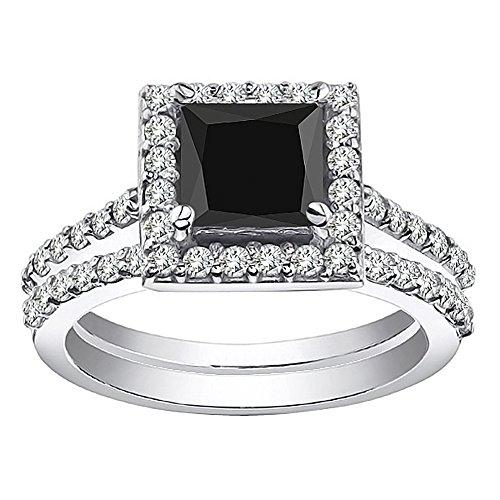 2 Carat Black Princess Square Diamond Halo Promise Bridal Band Ring Set 14K White Gold ()