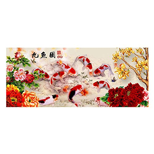 5D DIY Peony Nine fish Auspicious Home Decor Embroidery Kit Round Diamond Cross Stitch Kit 8035cm - Auspicious Fish