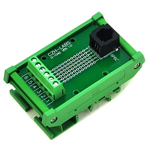 Electronics-Salon RJ11/RJ12 6P6C DIN Rail Mount Interface Module, Vertical Jack.