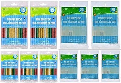 Mini Hot Glue Gun Sticks, Glittery Colored (75-ct) or Clear (100-ct) Sets