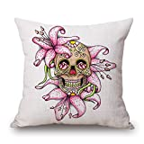 Slimmingpiggy Comfortable Bedding Pink Lily Skeleton Head 20X20 Inch Pillow Case offers