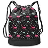 Fibpaecei Flamingos On The Lake Print Drawstring Bags - Simple School String Bag