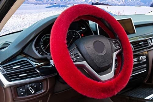 3Pcs//set Winter red soft warm plush car steering wheel cover handbrake cov TD ^S