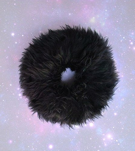 Fuzzy Scrunchie Black Fluffy Hair Tie Fur Furry Scrunchies Large Goth Handmade Fluffy Ponytail Holder 90s Soft Grunge Faux Fur