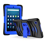 Amazon Fire 7 2017 Case, EpicGadget 7th Generation Fire 7 Heavy Duty Hybrid Wave Case Full Protection Cover with Kickstand and Built-in Screen Protector For Amazon Fire 7 (2017) (Black/Blue)