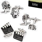 BMC 3 Pair Trendy Silver Colored Mens Cufflinks Set - Pop Star Jackets Skulls Movie Markers