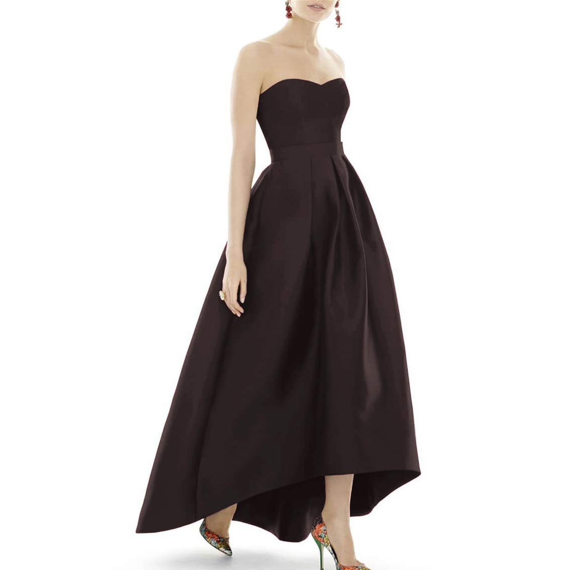 Chocolate XSWPL Women's Strapless High Low Bridesmaid Dresses Sweetheart Satin Prom Gowns ALine