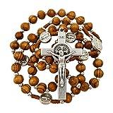 Olive Wood Rosary Beads Catholic Necklace St Saint Benedict Medal Crucifix Jerusalem Cross Gift Box