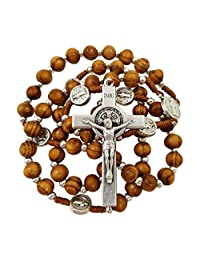 Olive Wood Rosary Beads Catholic Necklace St Saint Benedict Medal Crucifix Jerusalem Cross Gift Box